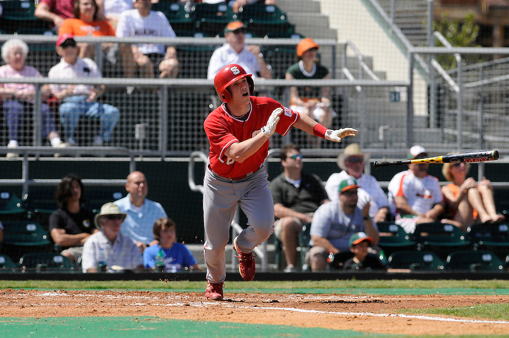 March 8, 2009: Kyle Wilson of the North Carolina State Wolfpack in action during the NCAA baseball game between the Miami Hurricanes and the North Carolina State Wolfpack. The 'Canes defeated the Wolfpack 9-7.
