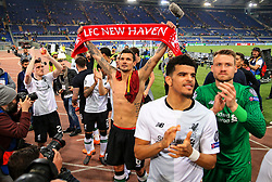 Dejan Lovren of Liverpool celebrates with teammates at full time - Mandatory by-line: Matt McNulty/JMP - 02/05/2018 - FOOTBALL - Stadio Olimpico - Rome,  - Roma v Liverpool - UEFA Champions League Semi Final, 2nd Leg