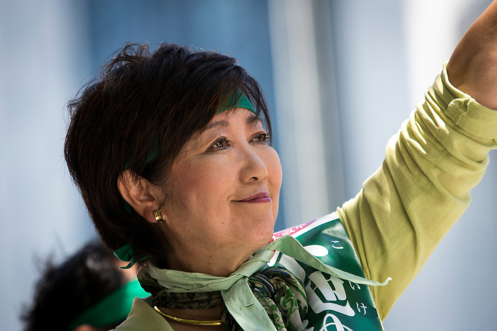 TOKYO, JAPAN - JULY 29 : Candidate Yuriko Koike a Liberal Democratic Party lawmaker and former defense minister greets people during the Tokyo Gubernatorial Election 2016 campaign rally outside of Shibuya station, Tokyo, Japan on Friday, July 29, 2016. Tokyo residents will vote on July 31 for a new Governor of Tokyo who will deal with issues related to the hosting of the Tokyo Summer Olympics and Paralympics in 2020. (Photo: Richard Atrero de Guzman/NUR Photo)