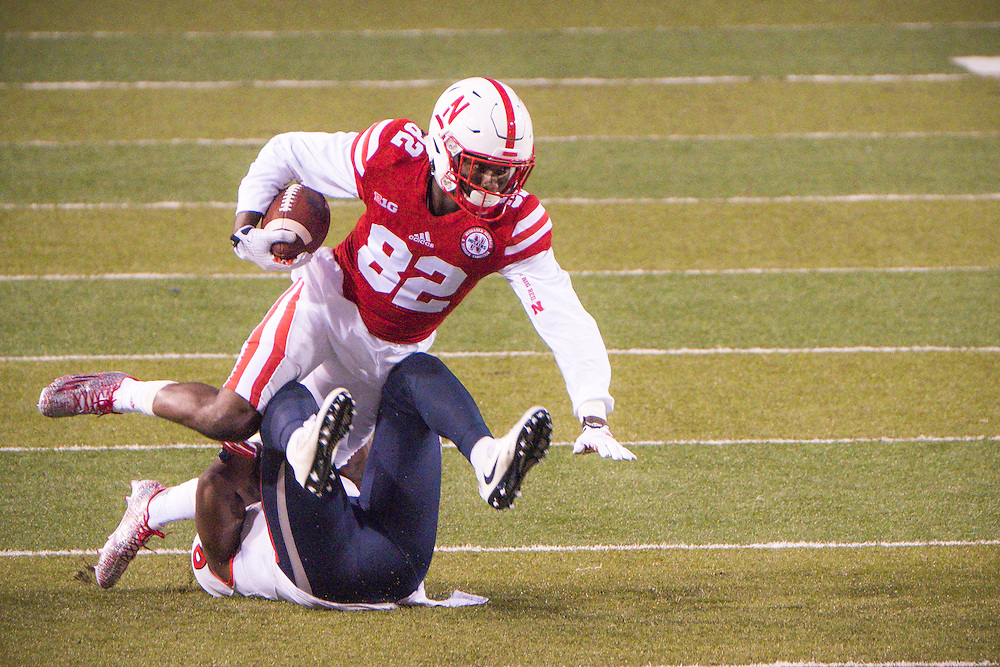 Alonzo Moore #82 of the Nebraska Cornhuskers is tripped up during their game against  Fresno State at Memorial Stadium on September 3, 2016 in Lincoln Neb. Photo by Eric Francis for Hail Varsity