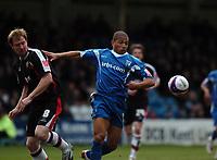 Photo: Tony Oudot/Richard Lane Photography. Gillingham v Shrewsbury Town. Coca-Cola Football League Two. 28/02/2009. <br /> Simeon Jackson of Gillingham with Kelvin Langmead of Shrewsbury