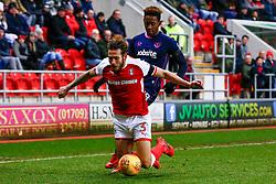 Jamal Lowe of Portsmouth pushes Joe Mattock of Rotherham United - Mandatory by-line: Ryan Crockett/JMP - 20/01/2018 - FOOTBALL - Aesseal New York Stadium - Rotherham, England - Rotherham United v Portsmouth - Sky Bet League One