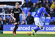 Leeds United midfielder Ezgjan Alioski (10) takes on Birmingham City defender Maxime Colin (5) 0-0 during the EFL Sky Bet Championship match between Birmingham City and Leeds United at St Andrews, Birmingham, England on 30 December 2017. Photo by Alan Franklin.