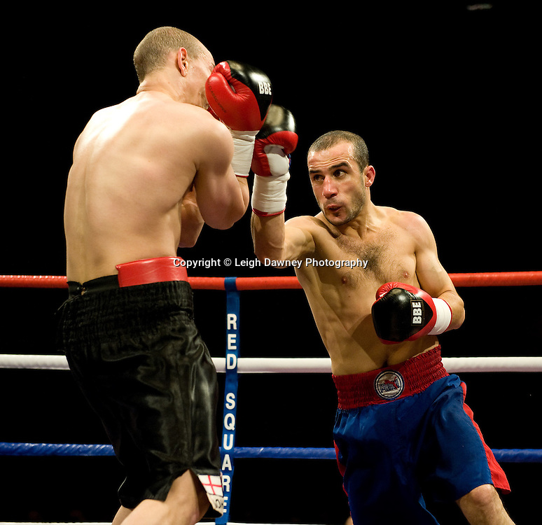 Carl Johanneson (black shorts) defeats Youseff Al Hamidi at the Harvey Hadden Leisure Centre 5th February 2010 Frank Maloney Promotions. Photo credit © Leigh Dawney