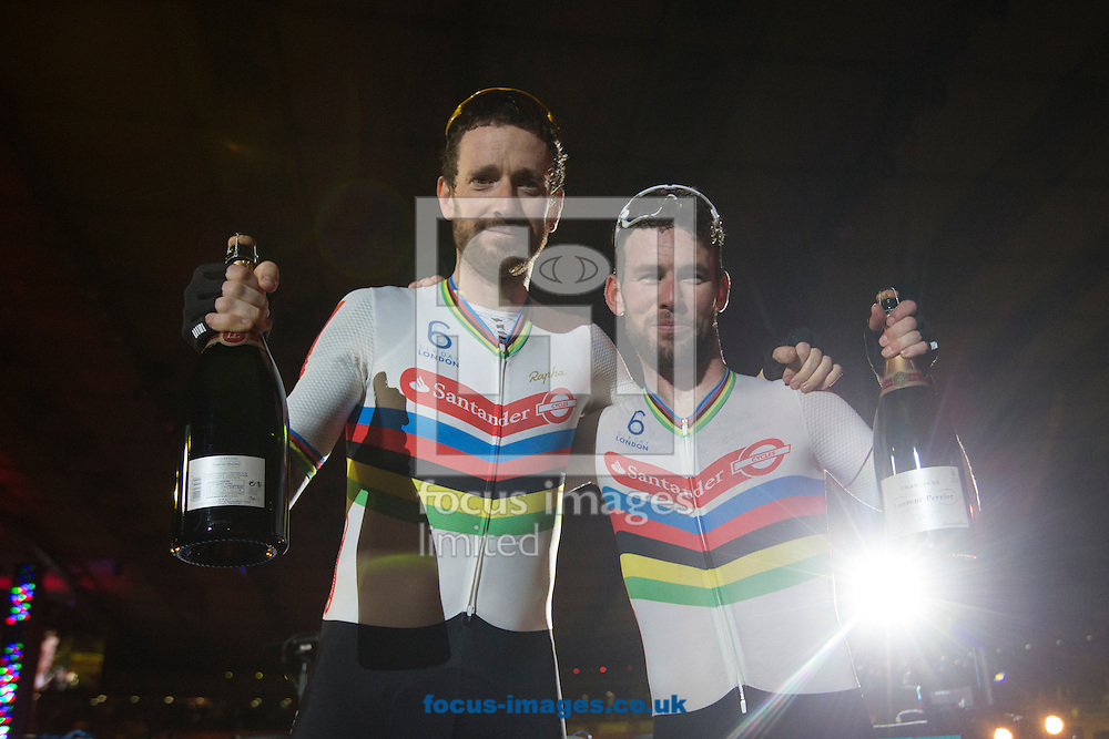 Sir Bradley wiggins (left) and Mark Cavendish (right)  try not to show their disappointment at narrowly coming second after six days of competition on day six of the Six Day cycling series at Lee Valley VeloPark, London, UK<br /> Picture by Ryan Dinham/Focus Images Ltd +44 7900 436859<br /> 30/10/2016