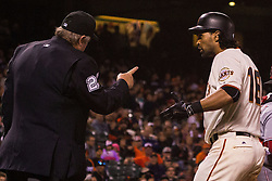 SAN FRANCISCO, CA - JULY 26: Angel Pagan #16 of the San Francisco Giants is ejected for arguing a called third strike by umpire Joe West #22 during the eighth inning against the Cincinnati Reds at AT&T Park on July 26, 2016 in San Francisco, California.  (Photo by Jason O. Watson/Getty Images) *** Local Caption *** Angel Pagan; Joe West