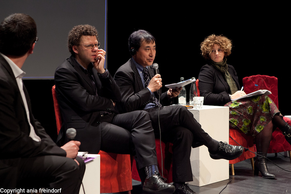 """Conference """"Fukushima, nuclear accident - four years later"""", Green Cross Paris, France, (center) Naoto Kan former Prime Minister of Japan, he resigned six months after the Fukushima nuclear accident, (right) Valerie Faudon, General Manager SFEN,  Tetsunari Lida, Director of ISEP,  Yves Marigniac, Director of WISE."""