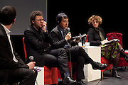 "Conference ""Fukushima, nuclear accident - four years later"", Green Cross Paris, France, (center) Naoto Kan former Prime Minister of Japan, he resigned six months after the Fukushima nuclear accident, (right) Valerie Faudon, General Manager SFEN,  Tetsunari Lida, Director of ISEP,  Yves Marigniac, Director of WISE."