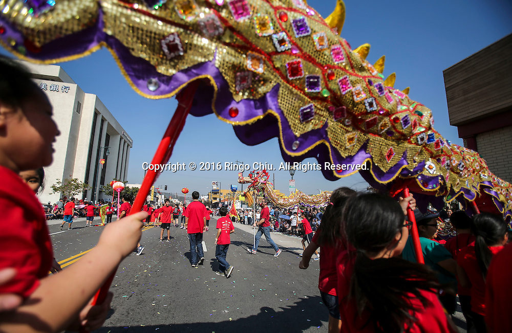 Dragon dancers perform during the 117th annual Chinese New Year &quot;Golden Dragon Parade&quot; in the streets of Chinatown in Los Angeles, Saturday Feb. 13, 2016. (Photo by Ringo Chiu/PHOTOFORMULA.com)<br /> <br /> Usage Notes: This content is intended for editorial use only. For other uses, additional clearances may be required.