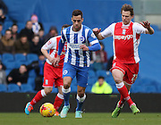 Brighton's Sam Baldock on the ball during the Sky Bet Championship match between Brighton and Hove Albion and Birmingham City at the American Express Community Stadium, Brighton and Hove, England on 21 February 2015. Photo by Phil Duncan.