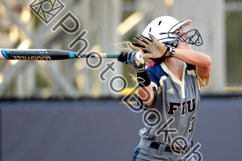 2015 February 13 - FIU's Ashley Leon (3). Florida International University defeated Memphis, 3-2, at the Felsberg Field at the FIU Softball Stadium, Miami, Florida. (Photo by: Alex J. Hernandez / photobokeh.com) This image is copyright by PhotoBokeh.com and may not be reproduced or retransmitted without express written consent of PhotoBokeh.com. ©2015 PhotoBokeh.com - All Rights Reserved
