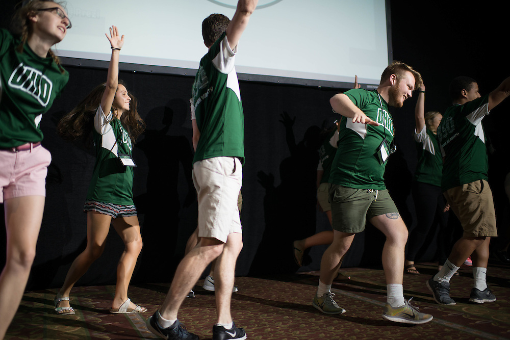Bobcat Student Orientation Leaders dance at the end of a BSO session in Baker Ballroom on June 15, 2016. © Ohio University / Photo by Kaitlin Owens
