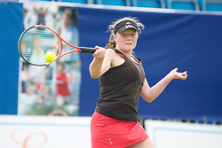 LIVERPOOL, ENGLAND - Wednesday, June 19, 2013: Lauren Dowling in action during the Women's Qualifying Final on the Kids Day at the Liverpool Hope University International Tennis Tournament at Calderstones Park. (Pic by David Rawcliffe/Propaganda)