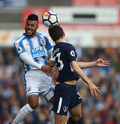 Elias Kachunga of Huddersfield Town (L) and Ben Davies of Tottenham Hotspur in action - Mandatory by-line: Jack Phillips/JMP - 30/09/2017 - FOOTBALL - The John Smith's Stadium - Huddersfield, England - Huddersfield Town v Tottenham Hotspur - English Premier League