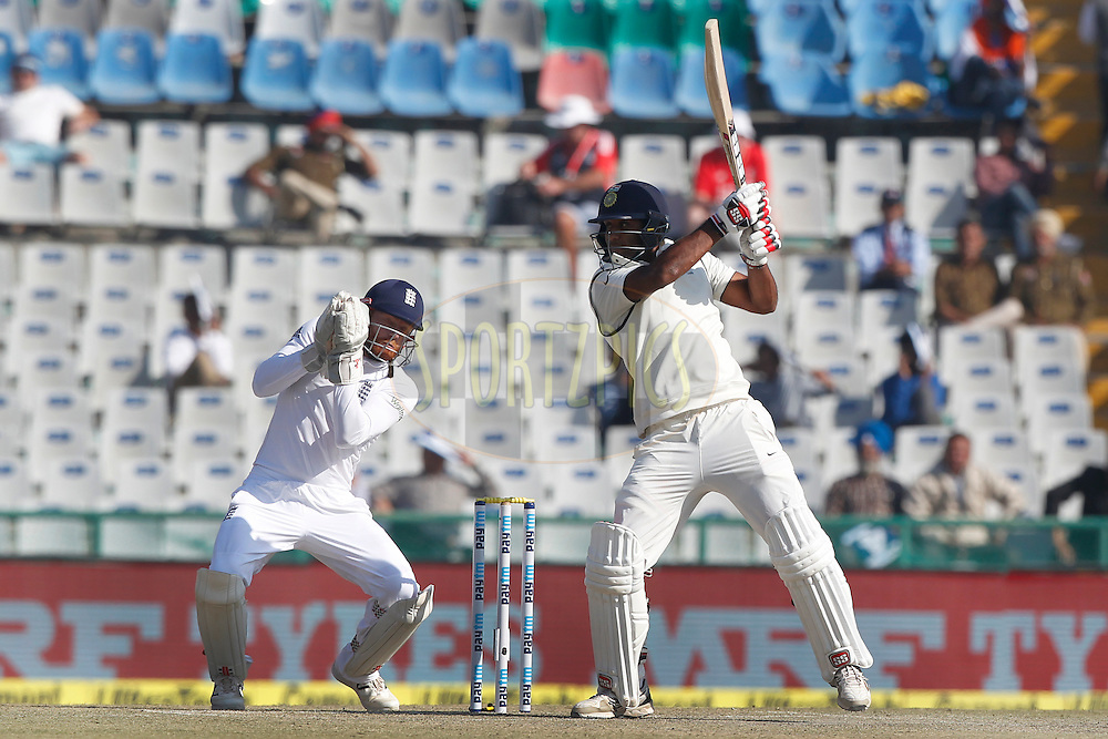 Jayant Yadav of India bats during day 3 of the third test match between India and England held at the Punjab Cricket Association IS Bindra Stadium, Mohali on the 28th November 2016.<br /> <br /> Photo by: Deepak Malik/ BCCI/ SPORTZPICS