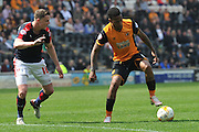 Hull City striker Abel Hernandez (9) and Rotherham United defender Frazer Richardson (16) during the Sky Bet Championship match between Hull City and Rotherham United at the KC Stadium, Kingston upon Hull, England on 7 May 2016. Photo by Ian Lyall.