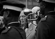 Canadian Prime Minister Pierre Trudeau closes his eyes while taking part in welcoming ceremonies in Lagos, Nigeria. (1981)