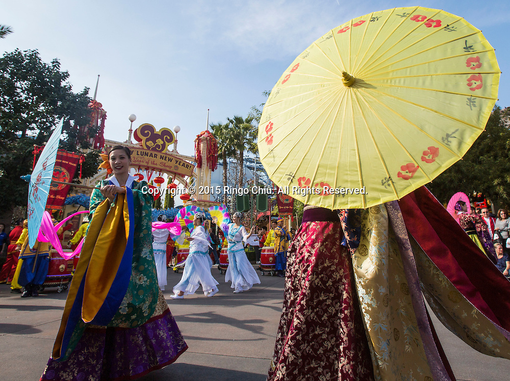 Dancers perform at the Paradise Garden in Disney California Adventure Park during the Happy Lunar New Year Celebration on Saturday February 21, 2015 in Anaheim, California. (Photo by Ringo Chiu/PHOTOFORMULA.com)