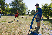 "The AYSO youth soccer league kicked off its new season Saturday afternoon, September 9th, 2017 with a meet and greet for parents and players in the soccer fields in Jackson Park located at 6100 S. Stony Island.<br /> <br /> 9047 – Hale Richland takes a shot on goalie, Julian Koehler.<br /> <br /> Please 'Like' ""Spencer Bibbs Photography"" on Facebook.<br /> <br /> Please leave a review for Spencer Bibbs Photography on Yelp.<br /> <br /> All rights to this photo are owned by Spencer Bibbs of Spencer Bibbs Photography and may only be used in any way shape or form, whole or in part with written permission by the owner of the photo, Spencer Bibbs.<br /> <br /> For all of your photography needs, please contact Spencer Bibbs at 773-895-4744. I can also be reached in the following ways:<br /> <br /> Website – www.spbdigitalconcepts.photoshelter.com<br /> <br /> Text - Text ""Spencer Bibbs"" to 72727<br /> <br /> Email – spencerbibbsphotography@yahoo.com"