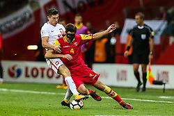 October 8, 2017 - Warsaw, Poland - Robert Lewandowski (POL), Nikola Vukcevic (MNE),  during Poland and Montenegro World Cup 2018 qualifier match in Warsaw, Poland, on 8 October 2017. POLAND won 4-2 and take on their World Cup 2018 qualifier. (Credit Image: © Foto Olimpik/NurPhoto via ZUMA Press)