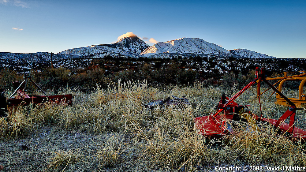 Sleeping Ute Mountain on an early winter morning at Kelley's Place near Cortez, Colorado. Image taken with a Nikon D3 camera and 14-24 mm f/2.8 lens (ISO 200, 22 mm, f/16, 1/15 sec).
