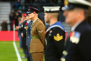The armed forces were present in respect of remembrance day during the EFL Sky Bet Championship match between Derby County and Aston Villa at the Pride Park, Derby, England on 10 November 2018.