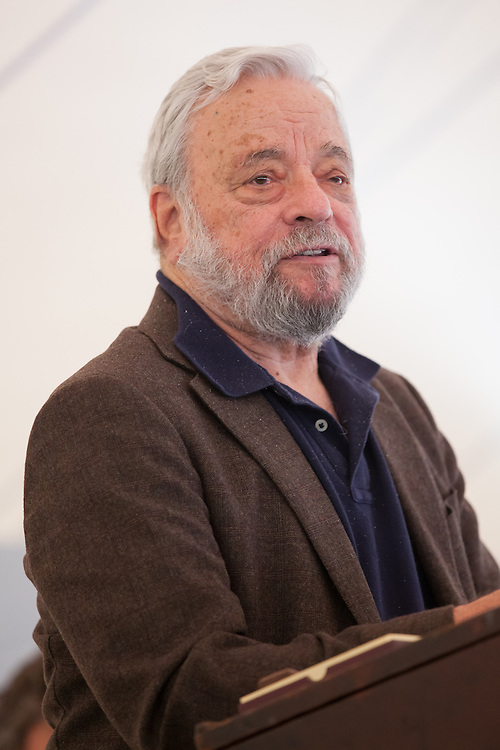 """Broadway composer and lyricist Stephen Sondheim speaks after accepting the Edward MacDowell Medal for lifetime achievement, at the MacDowell Colony, in Peterborough, NH on Sunday, August 11, 2013. Sondheim has won more Tony Awards than any other composer. His hit musicals include """"Follies,"""" ''A Little Night Music"""" and """"Sweeney Todd."""" (Matthew Cavanaugh Photo)"""