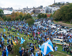Edinburgh, Scotland, United Kingdom, 7th October 2018. All Under One Banner (AUOB) Scottish March and Rally for Independence. Pro- Scottish independence  supporters walking from Edinburgh Castle to the Scottish Parliament at Holyrood. AOUB is a pro-independence organisation.