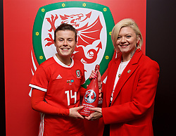 CARDIFF, WALES - Friday, November 24, 2017: Wales' player-of-the-match Hayley Ladd is presented with a bottle of champagne by Polly James during the FIFA Women's World Cup 2019 Qualifying Round Group 1 match between Wales and Kazakhstan at the Cardiff City Stadium. (Pic by David Rawcliffe/Propaganda)