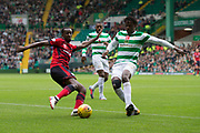 14th October 2017, Celtic Park, Glasgow, Scotland; Scottish Premiership football, Celtic versus Dundee; Dundee's Glen Kamara and Celtic's Dedryck Boyata