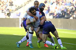 February 23, 2019 - Saint Denis, Seine Saint Denis, France - The Wing of French Team YOANN HUGET in action during the Guinness Six Nations Rugby tournament between France and Scotland at the Stade de France - St Denis - France..France won 27-10 (Credit Image: © Pierre Stevenin/ZUMA Wire)