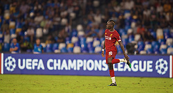 NAPLES, ITALY - Tuesday, September 17, 2019: Liverpool's Sadio Mane puts his boot back on during the UEFA Champions League Group E match between SSC Napoli and Liverpool FC at the Studio San Paolo. (Pic by David Rawcliffe/Propaganda)