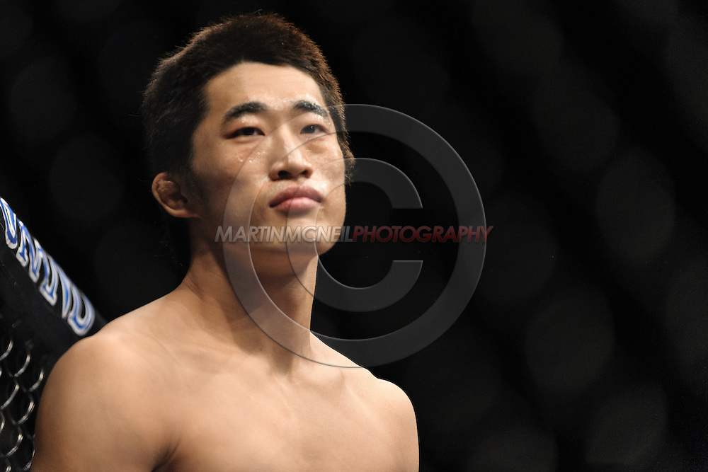 """LAS VEGAS, NEVADA, MAY 24, 2008: Dong Hyun Kim stands ready in his corner during """"UFC 84: Ill Will"""" inside the MGM Grand Garden Arena in Las Vegas"""