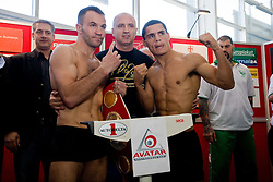 Manager Ulf Steinforth, Slovenian Boxer Dejan Zavec alias Jan Zaveck alias Mr. Simpatikus, Nani Matjasic and  challenger Rodolfo Ezequiel Martinez - Epi at official weighing 1 Day before IBF World Champion title fight, on April 8, 2010, in Avto Delta, Ljubljana, Slovenia.  (Photo by Vid Ponikvar / Sportida)