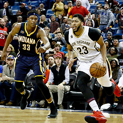 Dec 15, 2016; New Orleans, LA, USA; New Orleans Pelicans forward Anthony Davis (23) drives past Indiana Pacers center Myles Turner (33) during the second half of a game at the Smoothie King Center. The Pelicans defeated the Pacers 102-95. Mandatory Credit: Derick E. Hingle-USA TODAY Sports