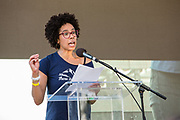 20 September 2019 - New York, NY.  Thousands of students as well as adults gathered in New York for the Global Climate Strike, meeting in Foley Square near the Federal Government buildings and New York's City Hall, and marching downtown to Battery Park, where Swedish climate activist and spokesperson Greta Thunberg addressed the crowd. Climate scientist Ayana Johnson addresses the crowd.
