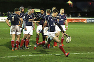 Peter Lydon kicks into touch during the Green King IPA Championship match between London Scottish &amp; Worcester at Richmond, Greater London on 20th December 2014<br /> <br /> Photo: Ken Sparks | UK Sports Pics Ltd<br /> London Scottish v Worcester, Green King IPA Championship, 20th December 2014<br /> <br /> &copy; UK Sports Pics Ltd. FA Accredited. Football League Licence No:  FL14/15/P5700.Football Conference Licence No: PCONF 051/14 Tel +44(0)7968 045353. email ken@uksportspics.co.uk, 7 Leslie Park Road, East Croydon, Surrey CR0 6TN. Credit UK Sports Pics Ltd
