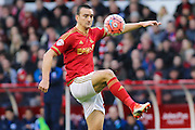 Nottingham Forest defender Jack Hobbs controls the ball during The FA Cup third round match between Nottingham Forest and Queens Park Rangers at the City Ground, Nottingham, England on 9 January 2016. Photo by Aaron Lupton.