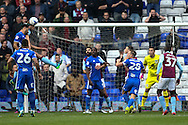 Ryan Shotton of Birmingham City (left)  heads at goal during the Sky Bet Championship match at St Andrews, Birmingham<br /> Picture by Andy Kearns/Focus Images Ltd 0781 864 4264<br /> 30/10/2016