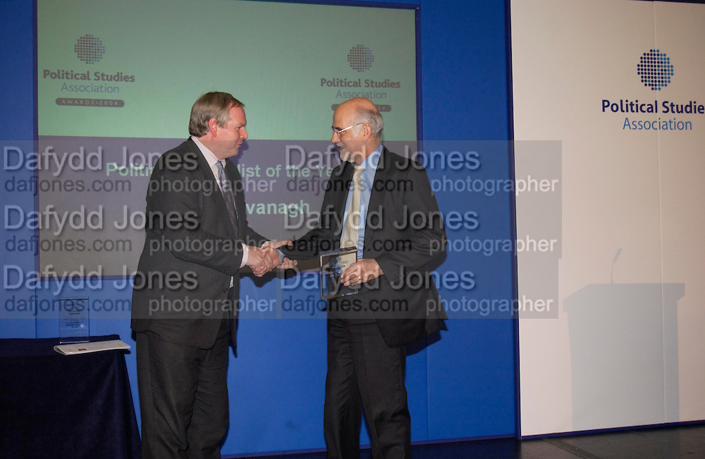 Adam Boulton and Trevor Kavanagh, Political Studies Association Awards 2004. Institute of Directors, Pall Mall. London SW1. 30 November 2004.  ONE TIME USE ONLY - DO NOT ARCHIVE  © Copyright Photograph by Dafydd Jones 66 Stockwell Park Rd. London SW9 0DA Tel 020 7733 0108 www.dafjones.com