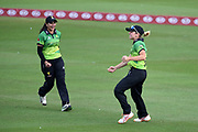 Claire Nicholas and Sonia Odedra of Western Storm celebrate the wicket of Tammy Beaumont during the Kia Women's Cricket Super League Final match between Western Storm and Southern Vipers at the 1st Central County Ground, Hove, United Kingdom on 1 September 2019.