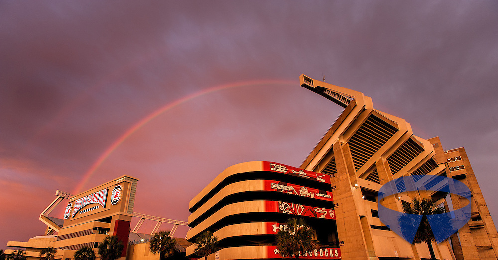 Williams-Brice Stadium, home of the South Carolina Gamecocks, is seen below a double rainbow in Columbia, SC.