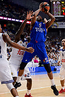 Real Madrid's Othello Hunter and Anadolu Efes's Derrick Brown during Turkish Airlines Euroleague match between Real Madrid and Anadolu Efes at Wizink Center in Madrid, April 07, 2017. Spain.<br /> (ALTERPHOTOS/BorjaB.Hojas)