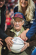 Alumnus ('52, engineering) and World War II veteran Gordon Van Scotter honored at Nov. 10 men's basketball game. (GU photo by Gavin Doremus)