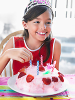 Portrait of girl (7-9) with birthday cake