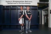 Dundee fans Cammy Kerr and Michael MacDonald model the new Dundee FC home kit - Dundee FC kit 2015-16 launch<br /> <br />  - &copy; David Young - www.davidyoungphoto.co.uk - email: davidyoungphoto@gmail.com