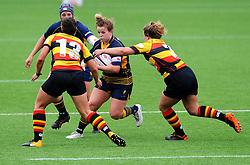 Vicky Foxwell of Worcester Valkyries is tackled by Stevie Farrow of Richmond Women - Mandatory by-line: Nizaam Jones/JMP - 22/09/2018 - RUGBY - Sixways Stadium - Worcester, England - Worcester Valkyries v Richmond Women - Tyrrells Premier 15s