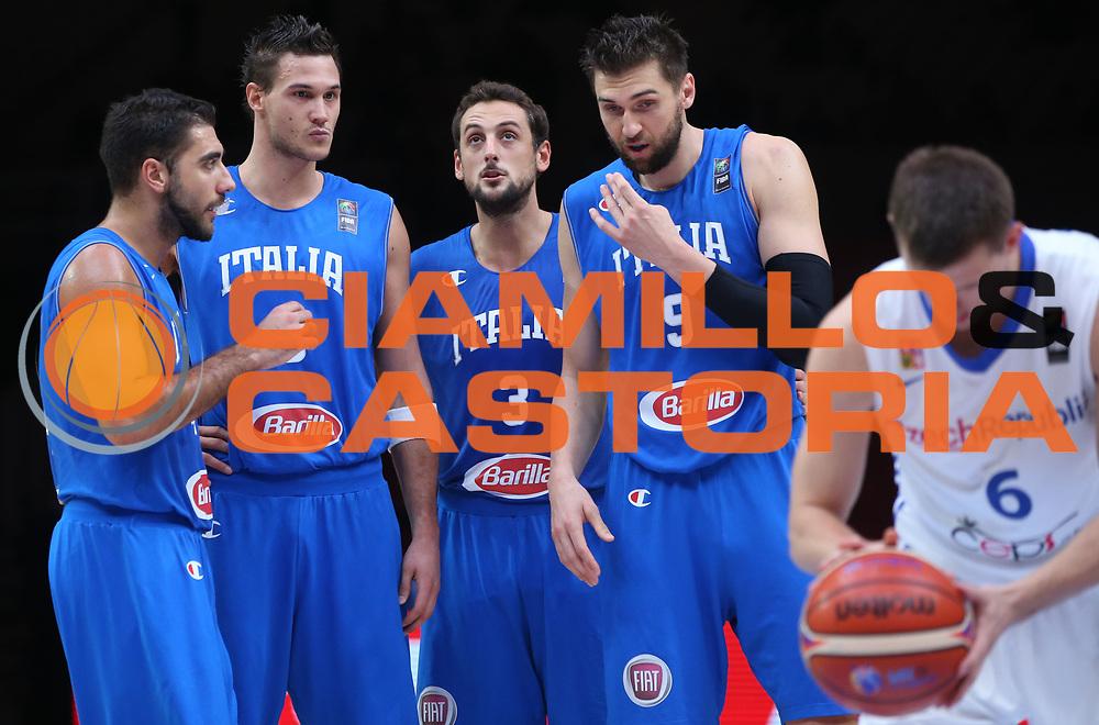 DESCRIZIONE : Lille Eurobasket 2015 Qualificazioni 5-8 posto Qualification 5-8 Game Italia Repubblica Ceca Italy Czech Republic<br /> GIOCATORE : Pietro Aradori Danilo Gallinari MArco Belinelli Andrea Bargnani<br /> CATEGORIA : ritratto<br /> SQUADRA : Italia Italy<br /> EVENTO : Eurobasket 2015 <br /> GARA : Italia Repubblica Ceca Italy Czech Republic<br /> DATA : 17/09/2015 <br /> SPORT : Pallacanestro <br /> AUTORE : Agenzia Ciamillo-Castoria/M.Metlas<br /> Galleria : Eurobasket 2015 <br /> Fotonotizia : Qualificazioni 5-8 posto Qualification 5-8 Game Italia Repubblica Ceca Italy Czech Republic