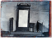 early 1900s product photo of bed frame with mirror closet and nightstand