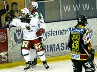Ishockey 26. januar 2004, Bonusrunde, Frisk Asker-Trondheim (TIK), Kjetil Velo og Petter Sœther, Frisk, jubler for scoring